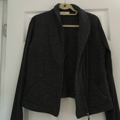 Loft gray asymmetrical sweatshirt blazer - medium Loft gray asymmetric zip sweatshirt / size m. Great condition and cozy. Blazer looking LOFT Jackets & Coats