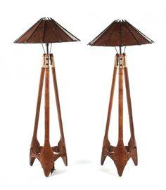 """Pair of Pacific Green """"Navajo"""" palmwood lamps"""