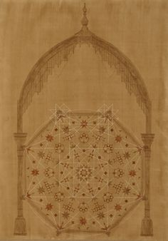 Joachim Tantau - Geometric Drawing of Moroccan Pavilion with Muqarnas dome. Architecture Collage, Sacred Architecture, Concept Architecture, Geometric Drawing, Geometric Art, Architectural Section, Architectural Drawings, Isometric Design, Collage Design