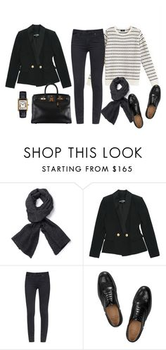 """""""..."""" by tomorrowsparties ❤ liked on Polyvore featuring A.P.C., Balmain, Tory Burch, Church's and Hermès"""