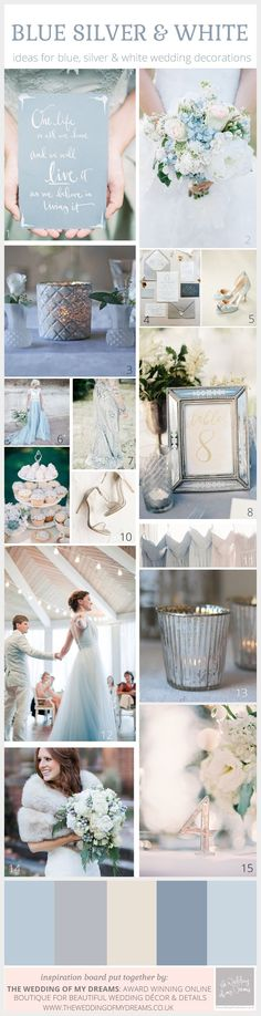 Enchanting Winter Wedding Colour Scheme: White, Blue and Silver
