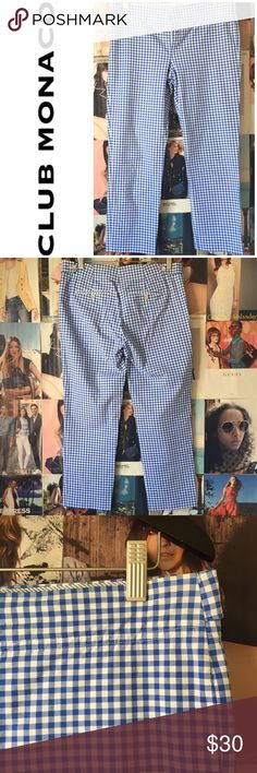 "Club Monaco | blue/white check ankle pants Sooo cute and in great condition! Perfect Audrey Hepburn ankle slacks for spring and summer events from brunch to picnics. Blue and white check. Zip/button/hook close. Back pockets. 6. Waist 34"". Inseam 26"". Rise 10"". 98% cotton. EUC. Club Monaco Pants Ankle & Cropped"