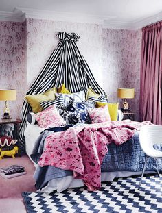 Pink bedroom in a west London home -  Photography by Michael Paul