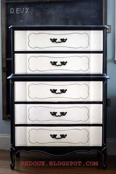 How to create a Black and White Dresser the easy way. Line the drawers and even a matching nightstand! REDOUXINTERIORS FACEBOOK: REDOUX INSTAGRAM: REDOUXINTERIORS DIY PAINT