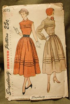 Simplicity 3275 Vintage 1940s Dress Sewing by EleanorMeriwether, 14.00