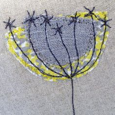 Linen flower   Free style embroidery done with a sewing machine