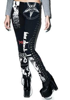 Hazmat Design Heavy Metal Leggings | Dolls Kill