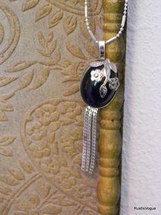 Vintage Repurposed Piece Necklace Black and Silver by RustIsVogue, $21.00
