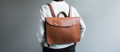 Handmade Leather Briefcase Backpack - Kaufmann Mercantile