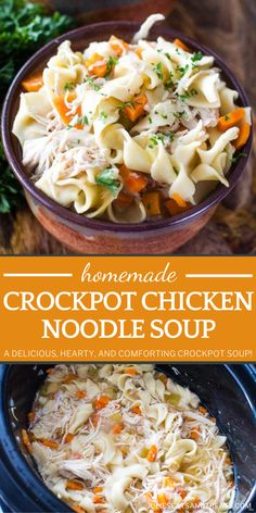 Once you try this easy homemade soup for dinner, you will never go back to a can again! Crockpot Chicken Noodle Soup is a family favorite. Packed with vegetables, protein, and the best flavors, a big bowl of this hearty and comforting meal is sure to warm you up! Chicken Noodle Soup Rotisserie, Crockpot Chicken And Noodles, Chicken Recipes, Easy Homemade Soups, Homemade Food, Best Crockpot Recipes, Crockpot Meals, Easy Clean Eating Recipes, Healthy Eating