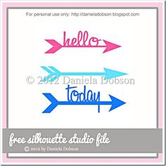 Words and arrows - free cut file by Daniela Dobson #Silhouette #CutFile