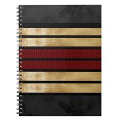 Elegant Gold Burgundy Stripe Marble Pattern Notebook - pattern sample design template diy cyo customize