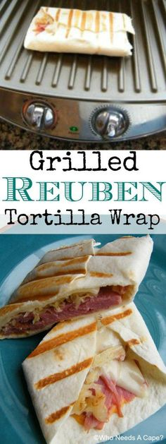 Do you have leftover Corned Beef? Then make this Grilled Reuben Tortilla Wrap, use up your leftovers and create a delicious meal that's just great. Sandwiches For Lunch, Soup And Sandwich, Wrap Sandwiches, Salad Sandwich, Grilling Recipes, Beef Recipes, Cooking Recipes, Panini Recipes, Tortilla Wraps