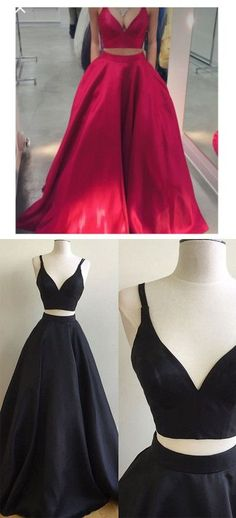 Elegant Prom Dress, Red and Black Prom Dress,Long