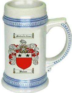 Bacon Coat of Arms / Family Crest tankard stein mug