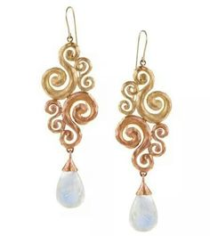 Pamela Froman beautiful two tone gold and moonstone earrings