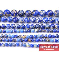 """Free Shipping 15"""" Natural Stone Blue Sea Sediment Imperial Jasper Round Loose Beads 6 8 10 12MM Pick Size For Jewelry Making J2"""