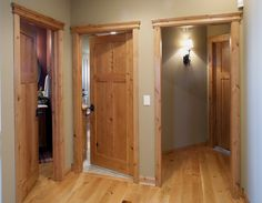 Knotty Alder stile & rail wood interior door with flat panels - spaces - minneapolis - Stallion Doors and Millwork Interior Color Schemes, Interior Paint Colors, Interior Trim, Interior Barn Doors, Colour Schemes, Exterior Doors, Interior Painting, Entry Doors, Interior Design