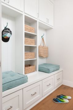 Mudroom. Mudroom cabinet with shelves, bench and drawers. Mudroom cabinet…
