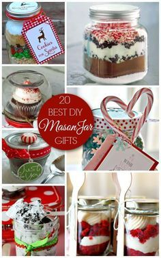 These mason jar gifts are sure to delight everyone on your Christmas gift list. Whether it's a cookie mix, popcorn treat or other holiday goodie, these gorgeous mason jar gifts will be a huge hit! Mason Jar Desserts, Mason Jar Meals, Mason Jar Gifts, Mason Jar Diy, Gift Jars, Canning Jars, Christmas Jar Gifts, Christmas Mason Jars, Noel Christmas