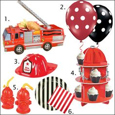 Firefighter-birthday-Party suppliesFirefighter Birthday Party Ideas and Party Supplies at the Via Blossom Blog! You don't want to miss it!