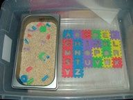 back to school sensory table ideas : foam ABC puzzle