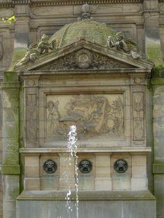 Fontaine de Leda behind Medici Fountain, Luxembourg Gardens, Paris Luxembourg Gardens, Luxembourg Paris, Garden Fountains, Landscape Art, Paris France, Places, Outdoor Decor, Beautiful, Pools