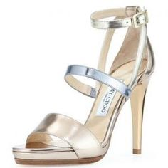 59% off Jimmy Choo - Sandals Dose Metallic Leather Beige - $369 #sandals #metallic #jimmychoo