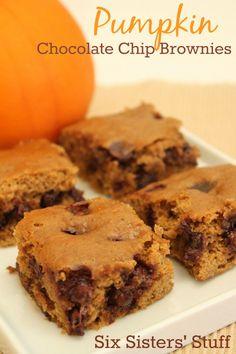 Pumpkin Chocolate Chip Brownies – Six Sisters' Stuff