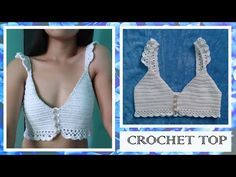 Diy Crochet Top, Free Crochet, Knit Crochet, Crochet Summer, Crochet Bikini Pattern, Crochet Halter Tops, Crochet Patterns, Diy Crop Top, Crop Tops