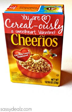 "Cereal Box Valentines day gift idea for kids! #DIY Free printable ""You are CEREAL-OUSLY a sweetheart, Valentine!"" 