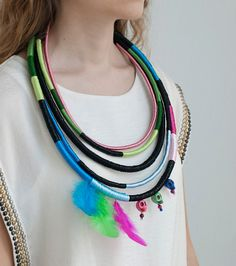 Big Multistrand Rope Necklace African Inspired by KiaFilStudios