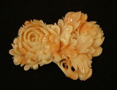 NATURAL TAIWAN PINK CORAL CARVED PEONY ROSE PENDANT PIECE 32.6 GRAM / 54MM WIDE
