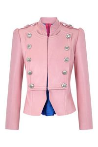 Pink leather jacket. Military inspired jacket by Spanish label La Condesa