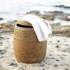 Elegant Rattan Drum Stool Side Table or Laundry Basket Storage Hamper with Lid from Janggalay