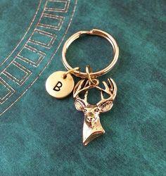 Gold Deer Keychain Deer Keyring Custom Keyring by MetalSpeakToo