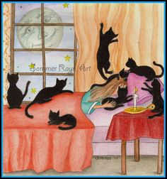 Night time Kitty Mischief, black cats, Shadow Kitties, bedroom scene, playful cats, silhouette card or print, Watercolor, Item #0139a