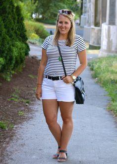 striped top, white shorts