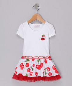 Take a look at this White Cherry Dress - Toddler & Girls by Elly on #zulily today!