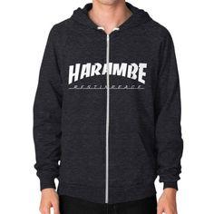 HARAMBE WHITE LOGO Zip Hoodie (on man)