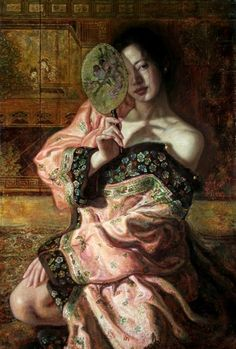 Art for sale from artist George Tsui - Fan Dance. Illustrations, Illustration Art, School Of Visual Arts, L5r, Portraits, Figure Painting, Chinese Art, Traditional Art, Asian Art
