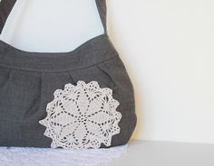 Spring Fashion. Handbag. Purse. For Her. Wool Bag with Crocheted Doily.  Women. Buttercup Bag. Shabby Chic. Warm. Gray. Grey 1ac23f9508395