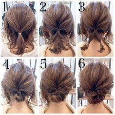 Short hair updo Quick and Easy Step by Step Hair Tutorials for Long, Medium,Short Hair Easy Updos For Medium Hair, Medium Short Hair, Medium Hair Styles, Curly Hair Styles, Short Hair Updo Easy, Short Hair Updo Tutorial, Updos For Thin Hair, Updos For Medium Length Hair Tutorial, Messy Bun For Short Hair