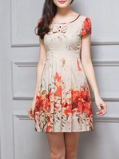 #AdoreWe #StyleWe WUWANGHUA Orange Folds Cotton Floral Girly Mini Dress - AdoreWe.com