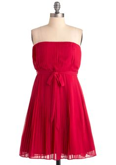 Papaya Punch Dress - Short, Pink, Solid, Bows, Pleats, Strapless, Party, A-line, Mini, Prom