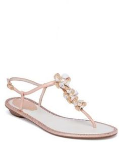 b6180851b792bf Rene Caovilla Embellished Leather  amp  Snakeskin T-Strap Sandals   affiliatelink Nude Sandals