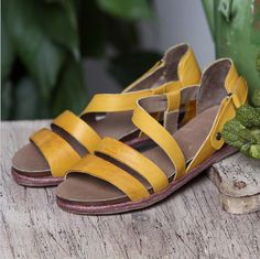 Green And Yellow Sandals / First Layer True Oxfords/Relaxation Flat Bottom/Woman Single Shoes/ Leather Shoes Restoring Ancient Ways on Etsy, $54.00