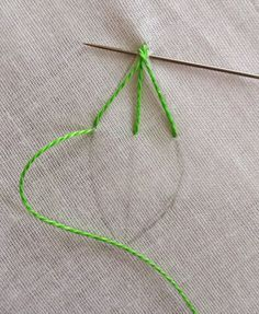 The first stitch that comes to my mind with the thought of embroidering a leaf is the Fishbone Stitch. It is from the family of crossed sti. Embroidery Leaf, Floral Embroidery Patterns, Hand Embroidery Videos, Embroidery Stitches Tutorial, Hand Embroidery Flowers, Sewing Stitches, Embroidery For Beginners, Hand Embroidery Designs, Embroidery Techniques