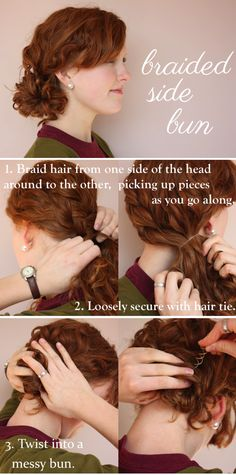 Go for a braided bun combo like this. | 17 Incredibly Pretty Styles For Naturally Curly Hair
