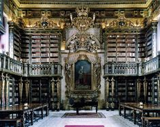 Joanina Library of famous Coimbra University in Portugal Biblioteca Joanina, Universidade de Coimbra, Portugal Coimbra Portugal, Beautiful Library, Dream Library, Grand Library, Central Library, Future Library, City Library, World Library, Library Books